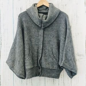 Topshop Grey Chunky Sweater Cardigan With Pockets